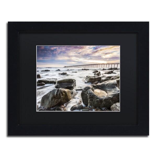 Chris Moyer 'Goleta Shores' Black Wood Framed Canvas Wall Art