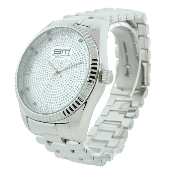 Bling Master Diamond Men's Silvertone Strap Watch
