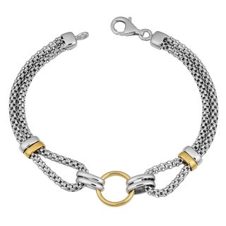 Argento Italia Two-tone Sterling Silver Stylish Popcorn Bracelet (8 inches)