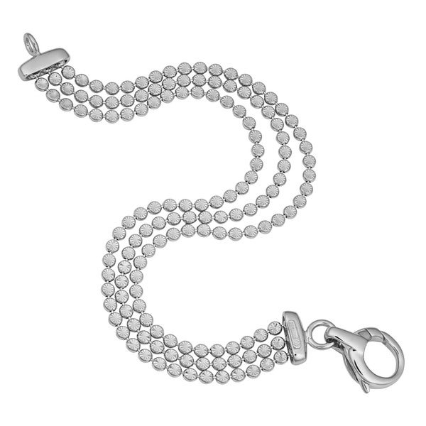 Argento Italia Rhodium Plated Sterling Silver Three Row Diamond-cut Bead Link Bracelet (7.5 inches)
