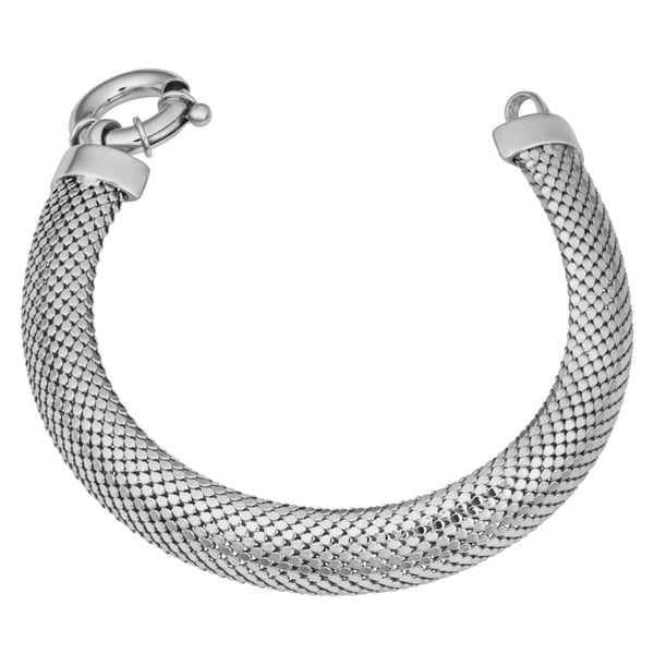 Argento Italia Sterling Silver High Polish Bold Mesh Popcorn Bracelet (7.75 inches)