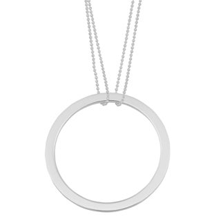 Argento Italia Sterling Silver Bold Circle Pendant on Double Strand Bead Chain Necklace (18 inches)
