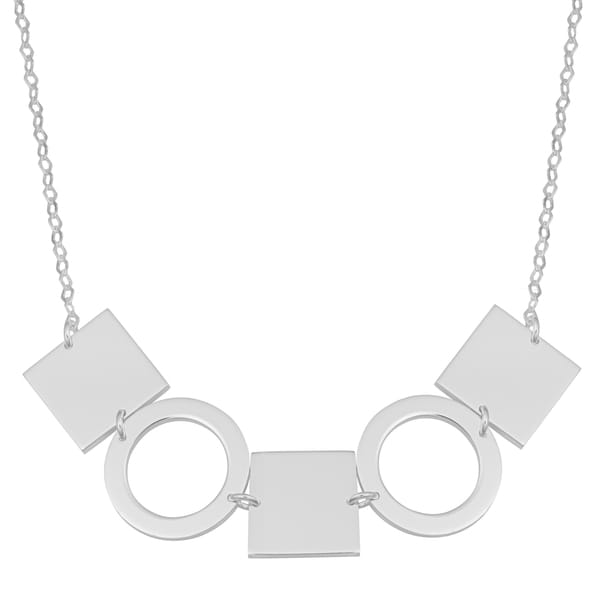 Argento Italia Sterling Silver Geometric Square and Circle Tribal Necklace (18 inches)