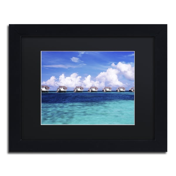 David Evans 'Blue Lagoon-Maldives' Black Wood Framed Canvas Wall Art