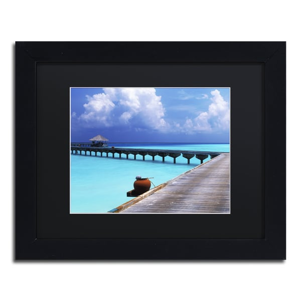 David Evans 'Into the Blue-Maldives' Black Wood Framed Canvas Wall Art