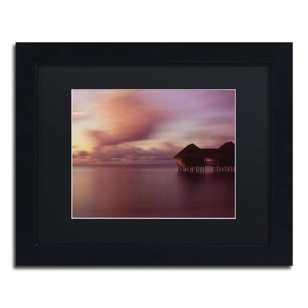 David Evans 'New Day-Maldives' Black Wood Framed Canvas Wall Art