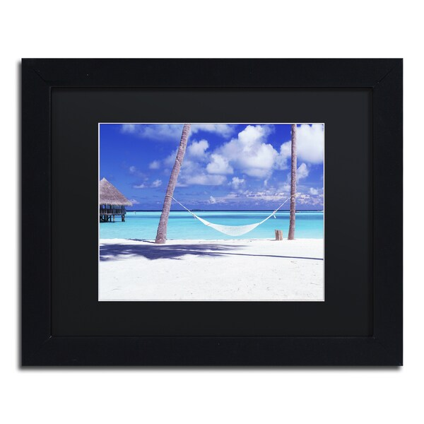 David Evans 'View for One-Maldives' Black Wood Framed Canvas Wall Art