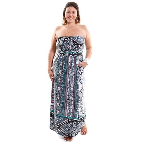 Hadari Women's Plus Size Strapless Tribal Print Maxi Dress
