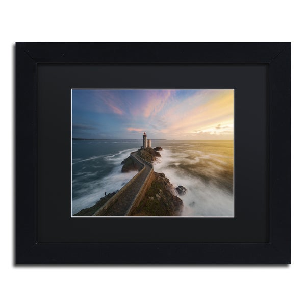 Mathieu Rivrin 'Last Rays in Brittany' Black Wood Framed Canvas Wall Art