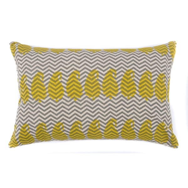 Yellow Paisley Zig Zag Pillow