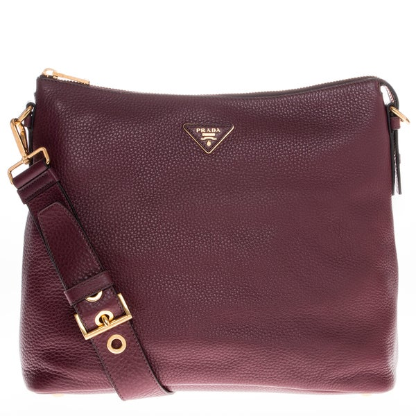 Prada Burgundy Pebbled Leather Hobo Bag