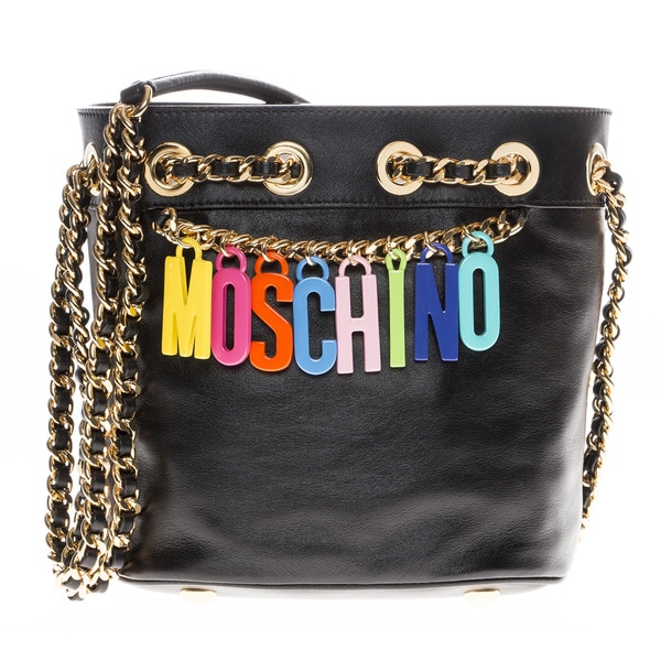 Moschino Medium Leather Bucket Bag
