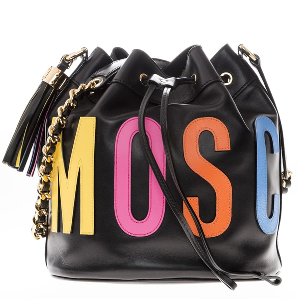 Moschino Medium Logo Leather Bucket Bag
