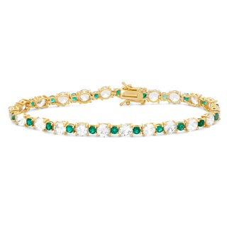 Gioelli 14k Gold Plated Silver Created Emerald and White Sapphire Tennis Bracelet