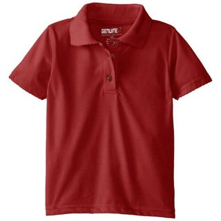 Girls' Red Short Sleeve Jersey Picot Collar Polo