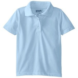 Girls' Blue Short Sleeve Picot Collar Jersey Polo
