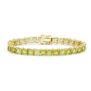 Gioelli Goldplated Sterling Silver Peridot 5mm Squares Gemstone Bracelet