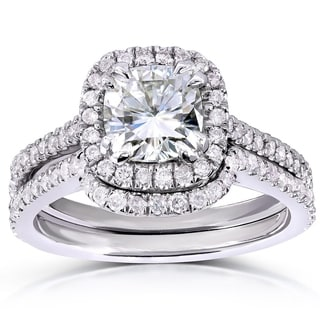 Annello 14k Gold Forever Brilliant Moissanite and 1/2ct TDW Diamond Classic Halo Bridal Rings Set (G-H, I1-I2)