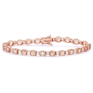 Gioelli Rose Gold Plated Silver Simulated Morganite and Created White Sapphire Tennis Bracelet