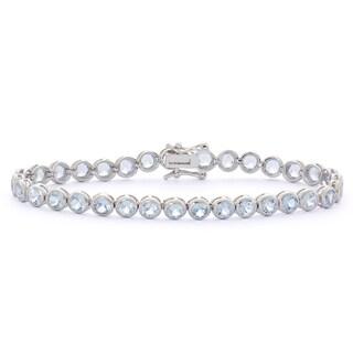 Gioelli Sterling Silver 8 1/2ct Created Aquamarine Gemstone Tennis Bracelet
