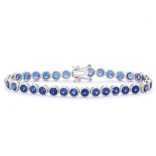Gioelli Sterling Silver 8 1/2ct Created Sapphire Gemstone Tennis Bracelet