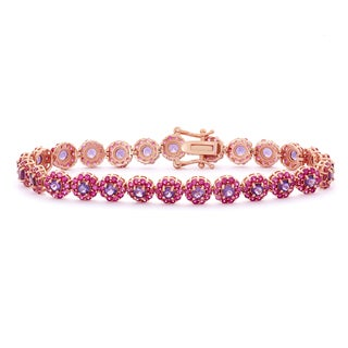 Gioelli Rose Gold Plated Silver Amethyst and Created Ruby Flower Bracelet