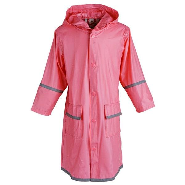 Big Girls' Kids Waterproof Long Hooded Raincoat Jacket