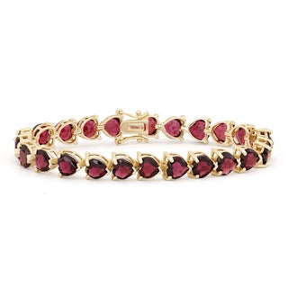 Gioelli Goldplated Sterling Silver Garnet 7mm Hearts Gemstone Bracelet