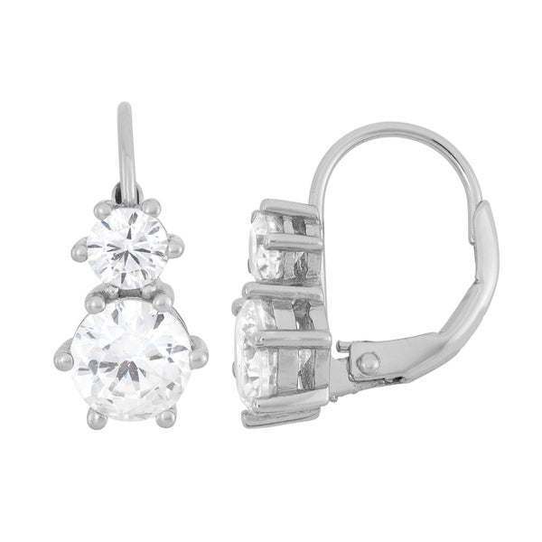 Gioelli Sterling Silver Round Cubic Zirconia Earrings