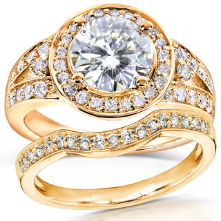Annello 14k Yellow Gold Round-cut Forever Brilliant Moissanite and 1/2ct TDW Diamond Halo Bridal Rings Set (G-H, I1-I2)