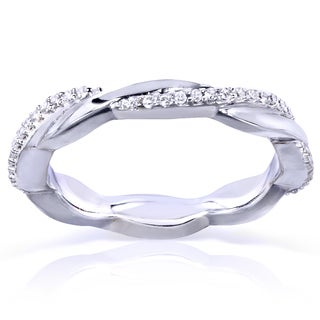 Annello 10k White Gold 1/6ct TDW Round Diamond Stackable Eternity Ring (H-I, I1-I2)