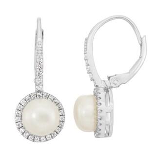 Gioelli Sterling Silver Freshwater Pearl Dangle Leverback Earrings (7-8mm)