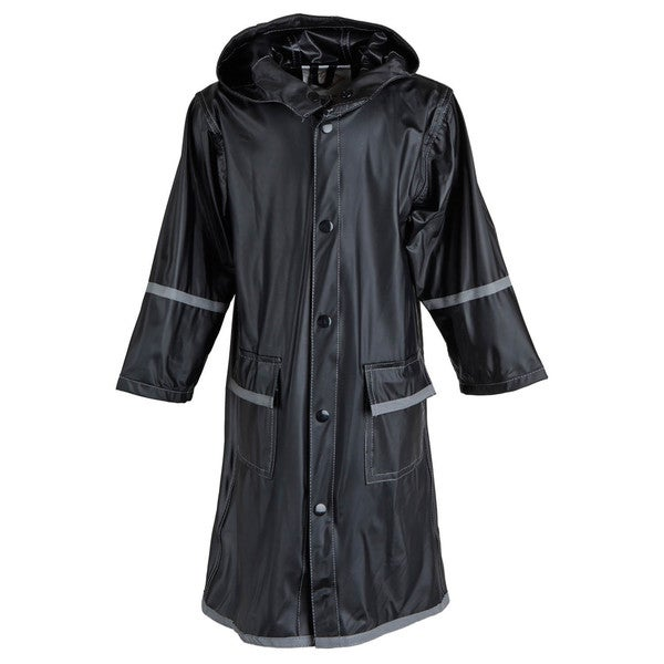 Little Girls' Waterproof Vinyl Long Hooded Raincoat Jacket