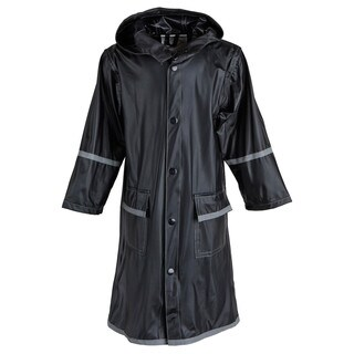 Little Girls' Waterproof Vinyl Long Hooded Raincoat Jacket