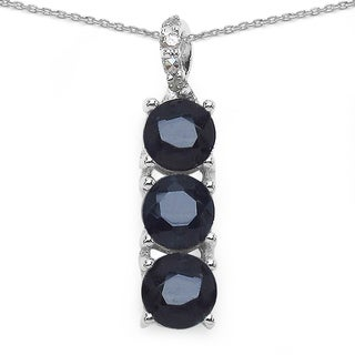 Malaika Malaika Sterling Silver 1 1/10ct Blue Sapphire and Diamond Accent Necklace