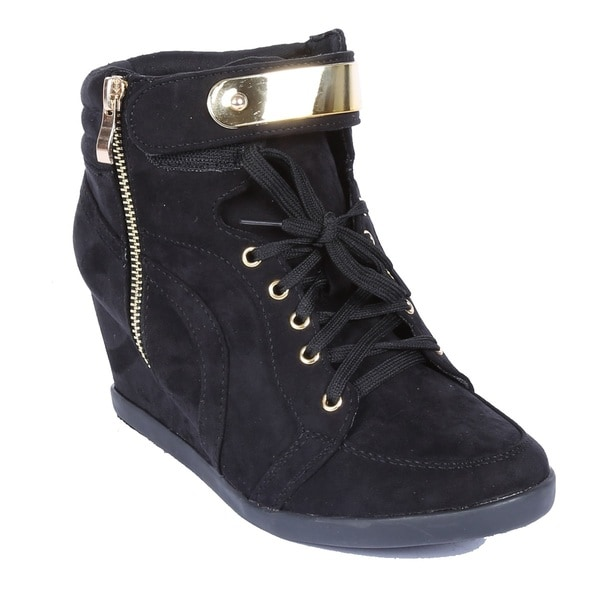 Coshare Women's Fashion Peggy-53 Suede PU Metal Embellished Ankle High Wedge Sneakers 15598236