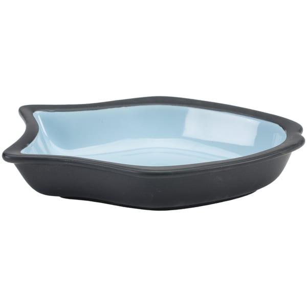 Two Tone Color Fish Shape Design 6.5in Stoneware Dish Blue