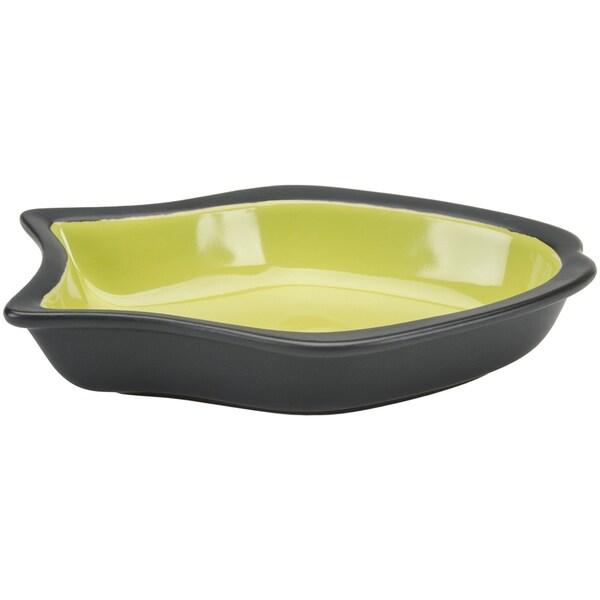Two Tone Color Fish Shape Design 6.5in Stoneware Dish Green