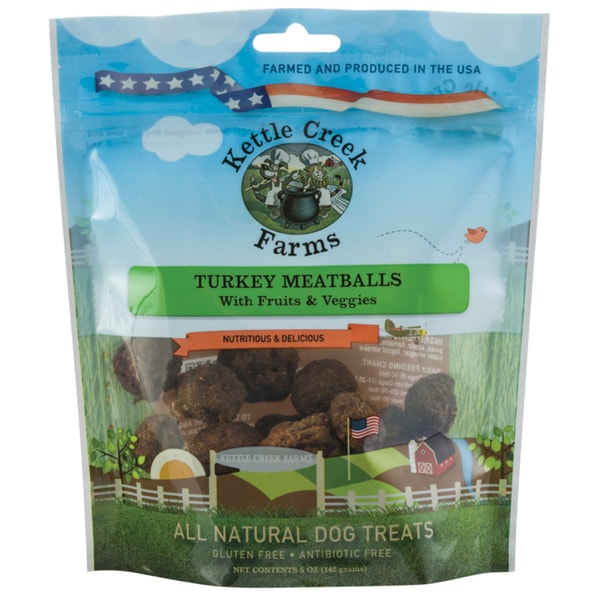 All Natural Kettle Creek Farms Dog Treats 5oz Turkey Meatballs W/Fruit & Veggies