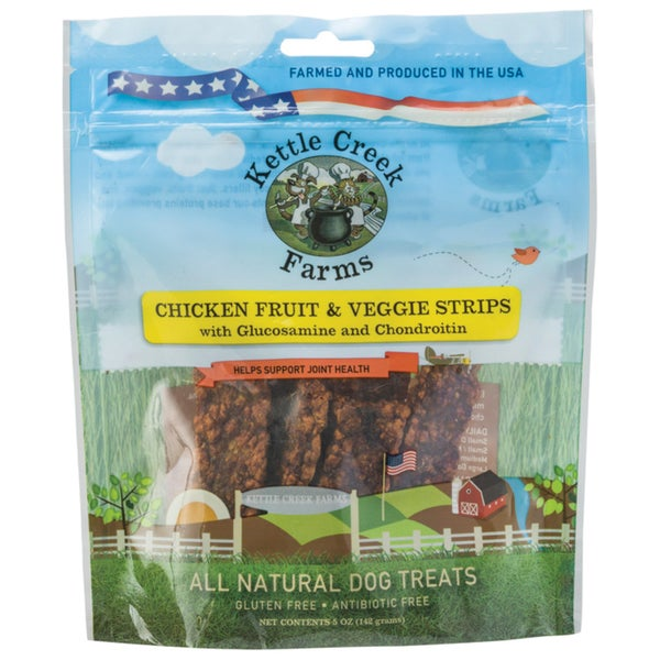 All Natural Kettle Creek Farms Treats For Hips & Joint 5oz Chicken Strips W/Fruit & Veggies