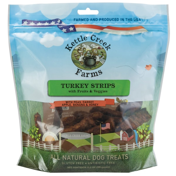 All Natural Kettle Creek Farms Dog Treats 11.5oz Turkey Strips W/Fruits & Veggies
