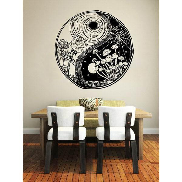 Yin Yang Day and Night Vinyl Sticker Wall Art