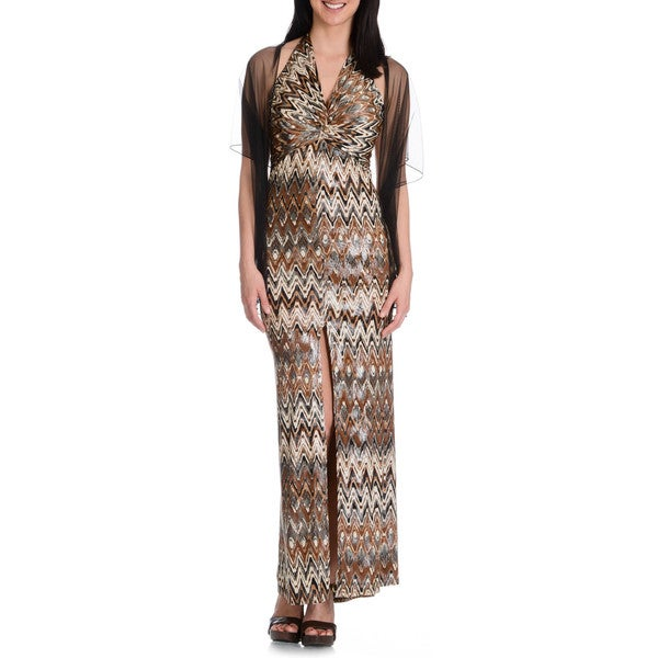 DFI Women's Halter Tie Neck Chevron Pattern Maxi Dress 15598560