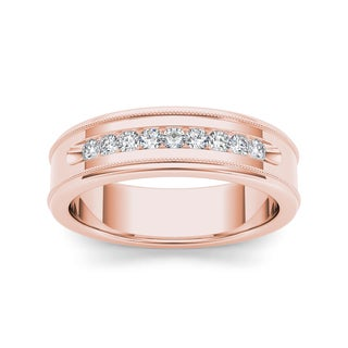 De Couer 14k Rose Gold 1/3ct TDW Diamond Men's Wedding Band (H-I, I2)