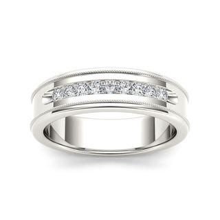 De Couer 14k White Gold 1/3ct TDW Diamond Men's Wedding Band (H-I, I2)