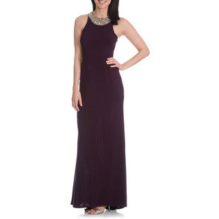 DFI Women's Beaded Embellished Neckline Gown with Wrap