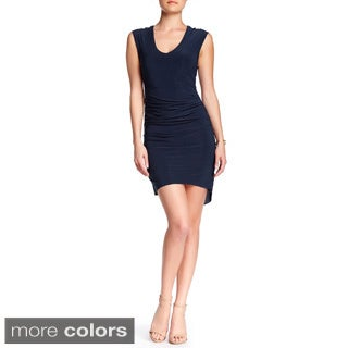 Von Ronen Sleeveless V-Neck Fitted Shirring Details Dress