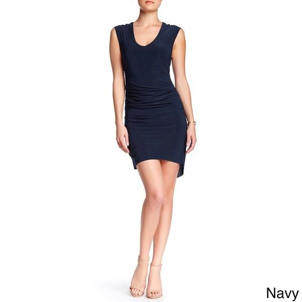 Von Ronen Sleeveless V-Neck Fitted Shirring Details Dress