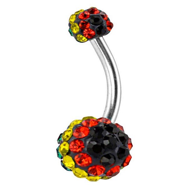 Supreme Jewelry Rasta Multi-colored Stone Belly Ring