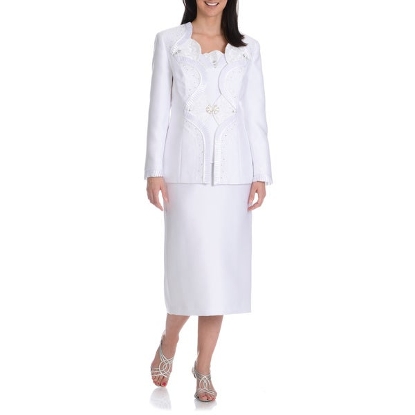 Giovanna Collection Women's Novelty Pleat Embellished 3-piece Skirt Suit